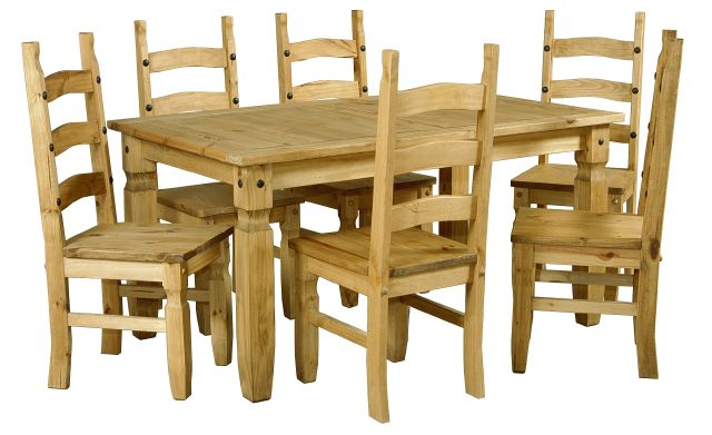 Corona Distressed Pine Table & 6 Chairs